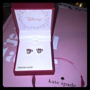 NWT Disney 925 CZ Minnie Mouse stud earrings